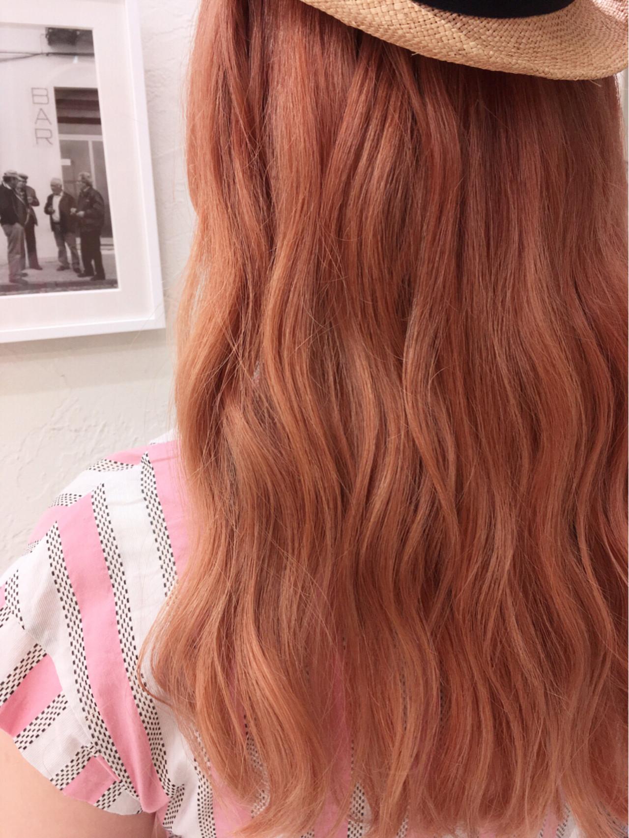 オレンジ ロング ガーリー 外国人風 ヘアスタイルや髪型の写真・画像[エリア]