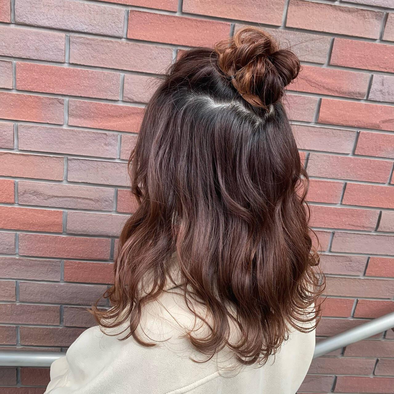 お団子付きのハーフアップ 古沢みづき  hair&makeEARTH 菊名店